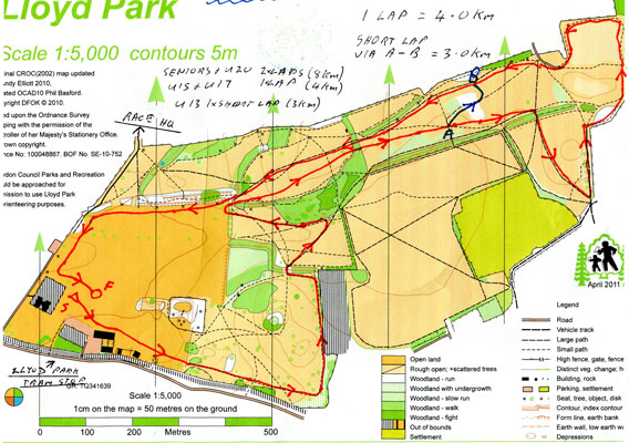 Lloyd park XC course map