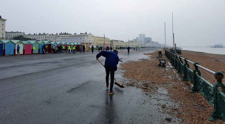 Hove parkrun sweeping