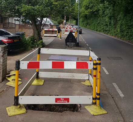 Roadworks in Cranford Lane