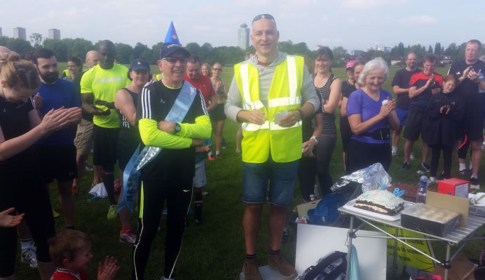Alan Anderson 80th birthday parkrun photograph