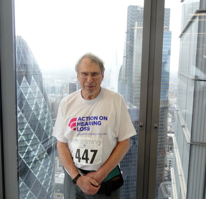 Dave Barnard at Heron Tower climb 2015