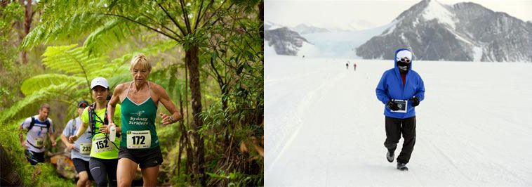 former member Caroline Yarnell running through tropical forest